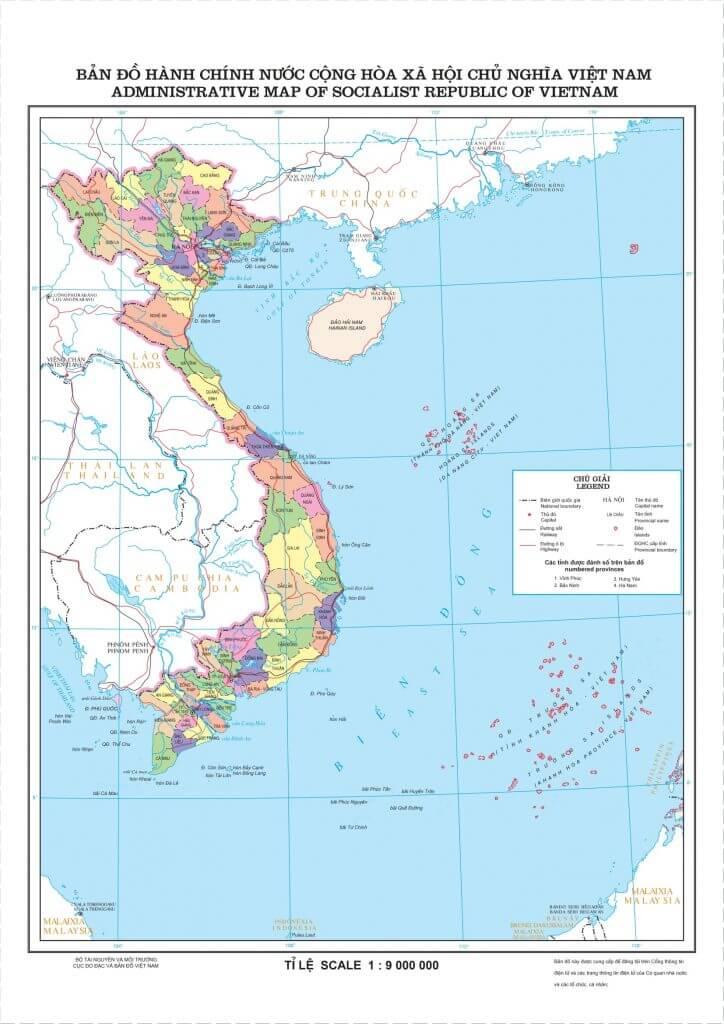 Bản đồ Việt Nam, vị trí địa lý các tỉnh mới nhất